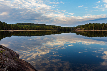 Photo for Landscape. Forest lake at sunset and reflection of clouds in the water - Royalty Free Image