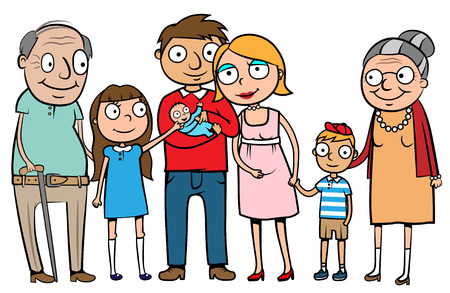 Illustration for Cartoon vector illustration of a large family with parents, children and grandparents - Royalty Free Image