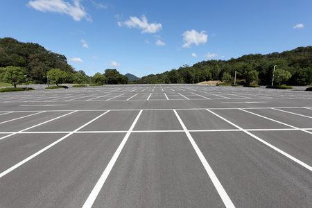 Photo for Empty car parking lot with white mark - Royalty Free Image