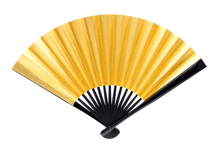 Photo pour Japanese style golden hand fan the isolated on white background? - image libre de droit