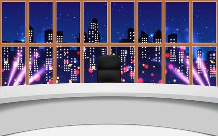 Ilustración de news studio with city in the night background - Imagen libre de derechos