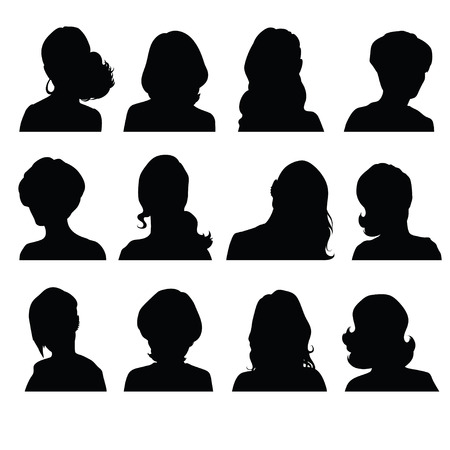 Illustration pour Silhouettes of a woman's head in frontal with different hairstyles - image libre de droit
