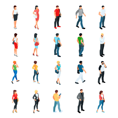 Ilustración de Set of isometric people isolated on white background. 3d men and women view front and back. Modern young people. Vector illustration. - Imagen libre de derechos