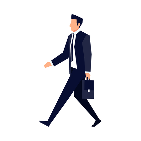 Illustrazione per Businessman in a flat style isolated on white background. An office worker walks with a briefcase in his hand. Vector illustration. - Immagini Royalty Free