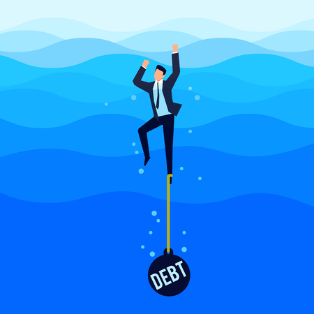 Illustrazione per Debtor. Debt concept. Businessman with a load tied to his foot drowns in the sea. Vector illustration. - Immagini Royalty Free