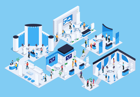 Illustration pour Isometric exhibition hall with people. 3d promotional stands. Exposition booth. Blank mockup. Vector illustration. - image libre de droit
