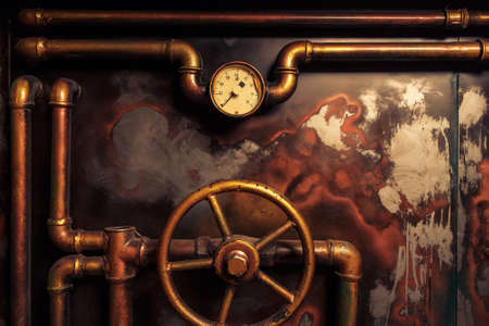 Photo pour background vintage steampunk from steam pipes and pressure gauge - image libre de droit