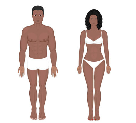 Illustrazione per African American Indian man and woman naked body in full growth in underwear. Front view. Vector illustration for advertising, medical (healthcare), bodybuilding, sport publications. EPS 8. - Immagini Royalty Free