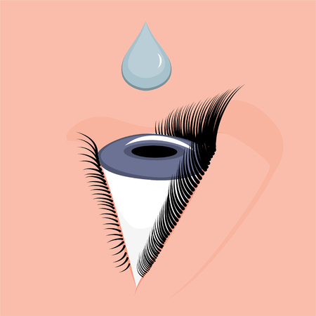 Illustration for Vector illustration. Anatomy of a human eye. Eye drops concept.  Close-up and macro view, side view. For advertising and medical publications. EPS 10 - Royalty Free Image
