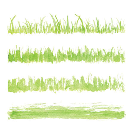 Illustration pour Hand drawn watercolor grass set isolated on white background. Sketch grass. Grass in the sun. Burnt grass. Withered herb. Light green watercolor grass pattern. Abstract grass. Spring fresh grass kit. - image libre de droit