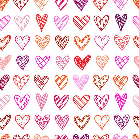 Illustration pour Hand drawn seamless pattern with doodle hearts. Valentines day background. Sketches hearts with different pattern in cartoon style. Love, romantic. Design, wrapping paper, gift bags, greeting cards. - image libre de droit