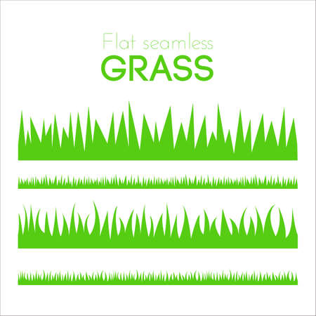 Illustration pour Vector flat grass set isolated on white background. Horizontal row of grass in cartoon style. Detailed illustration of herbs. Green grass pattern for illustration and game design. Abstract grass. - image libre de droit