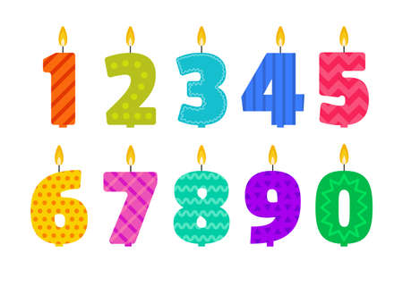 Illustration pour Vector flat design birthday candle set in the shape of all numbers. - image libre de droit