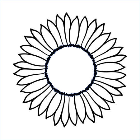 Ilustración de Vector doodle sunflower illustration. Simple hand drawn icon of flower with yellow petals isolated on white background. Line cartoon style.  - Imagen libre de derechos