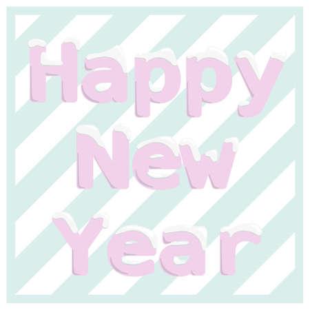 Illustration pour Vector graphics color illustration. Happy New Year banner. Pink letters with snowbank and  striped turquoise and white background - image libre de droit