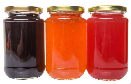 Foto de Blueberry, strawberry and orange fruit  bottled jam - Imagen libre de derechos