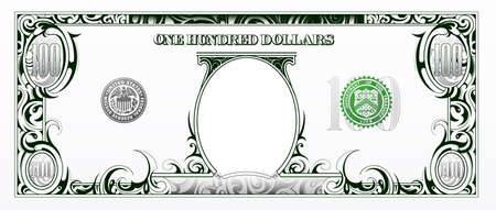 Illustration pour Artistic one hundred dollar bill based on american currency - image libre de droit