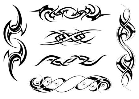 Illustration for Vector illustration with set of tribal tattoo designs - Royalty Free Image