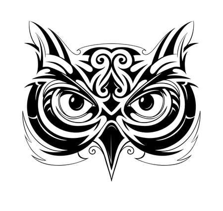 Illustration for Vector illustration with owl head tattoo sketch - Royalty Free Image