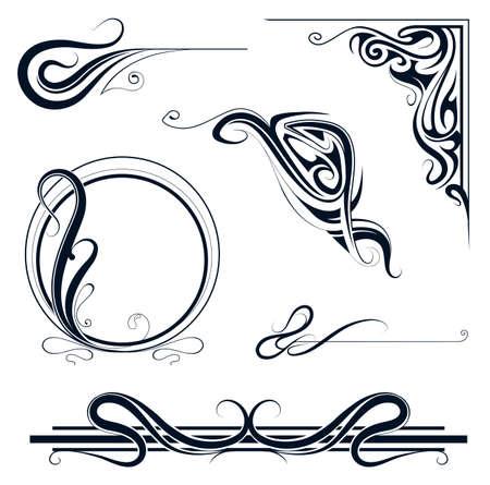 Ilustración de Decorative elements and vintage frame set in art nouveau style - Imagen libre de derechos