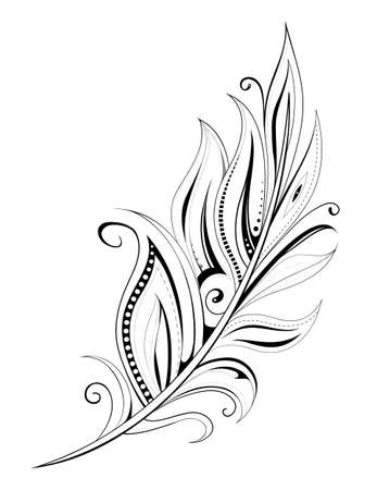 Illustration for Feather tattoo with ethnic elements isolated on white - Royalty Free Image