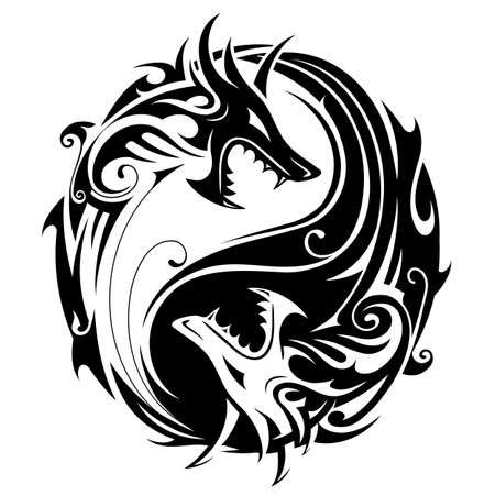Illustration for Yin Yang tattoo symbol shaped as two fighting dragons - Royalty Free Image