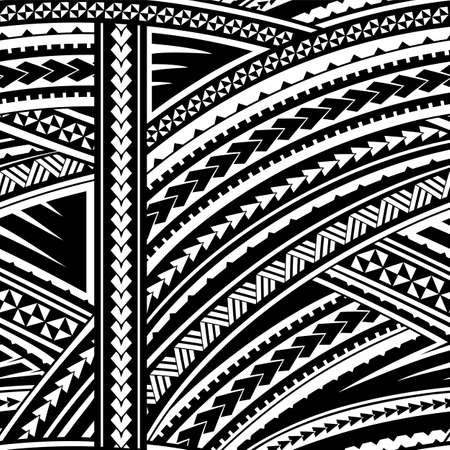 Illustration for Maori style tribal design. Seamless backdrop ornament - Royalty Free Image