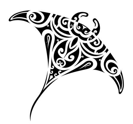 Illustration for Stingray tattoo in Maori ethnic style - Royalty Free Image