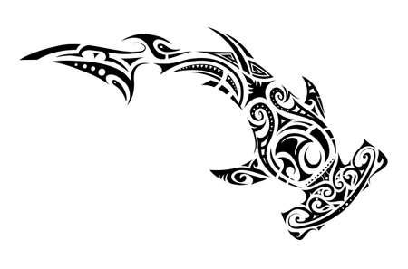 Illustration for Hammer shark tattoo in Maori tribal style - Royalty Free Image