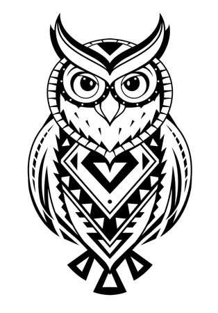 Illustration for Ethnic style owl tattoo. - Royalty Free Image