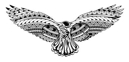 Illustration for Crow tattoo with Maori style ornaments - Royalty Free Image