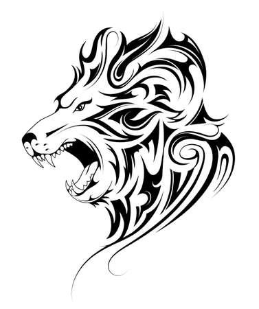 Ilustración de Lion head tribal tattoo - Imagen libre de derechos