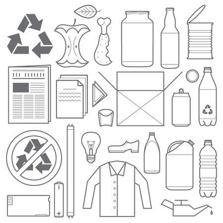 Ilustración de vector outline grey color recycling and various waste icons - Imagen libre de derechos
