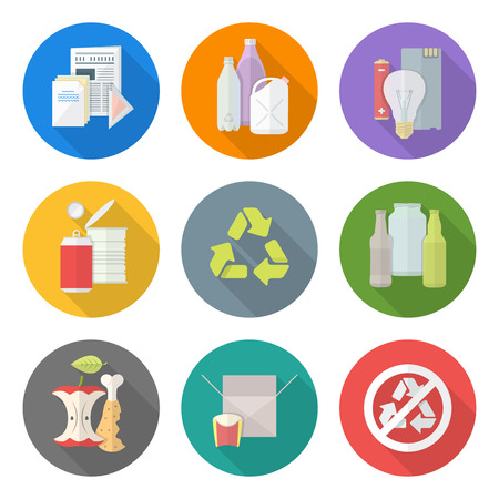 Ilustración de vector flat style various waste colored groups long shadow icons set for separate collection and recycle garbage - Imagen libre de derechos