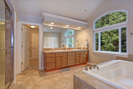 Foto de Stunning master bathroom with double vanity cabinet, large arched window, vaulted ceiling and luxury spa tub. - Imagen libre de derechos
