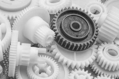 Foto de The plastic gear. Photo fragment of machine. - Imagen libre de derechos