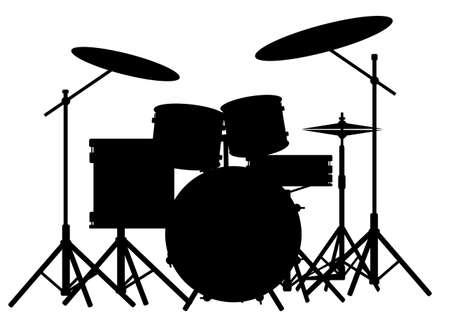 Illustration pour Silhouette of a rock bands drum kit isolated on white  - image libre de droit