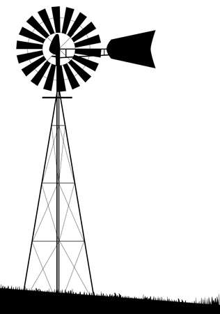 Illustration pour A small water pump windmill isolated over white  - image libre de droit