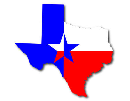 Illustration pour Outline map of Texas in red white and blue with the lone star motif - image libre de droit