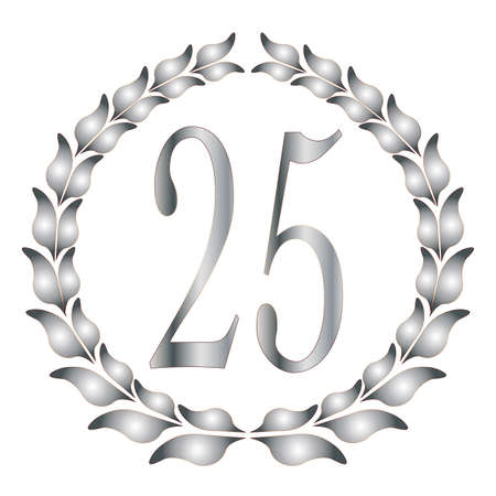 Illustration for A 25th anniversary laurel over a white background - Royalty Free Image
