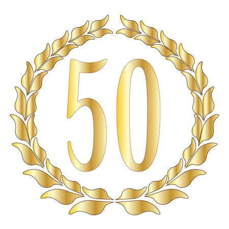 Illustration for A 50th anniversary symbol over a white background - Royalty Free Image