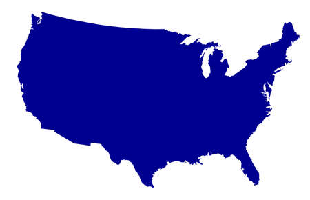 Illustration pour An outline silhouette map of The United States of America over a white background - image libre de droit