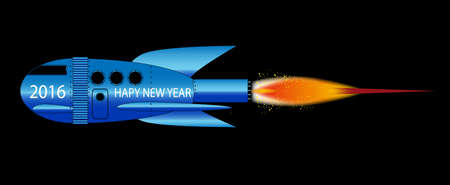 A cartoon space craft with a black background and the text 2016 Happy New Year