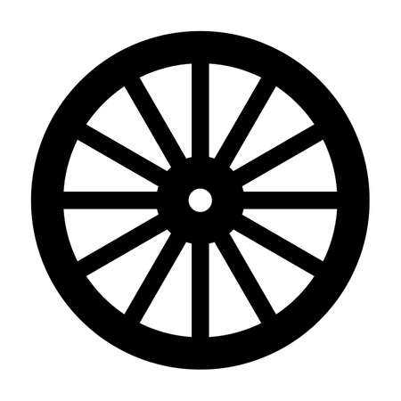 Illustration pour A typical wheel from a western covered wagon in silhouette - image libre de droit