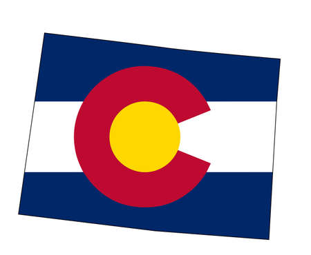 Illustration pour State map outline of Colorado over a white background with inset flag - image libre de droit