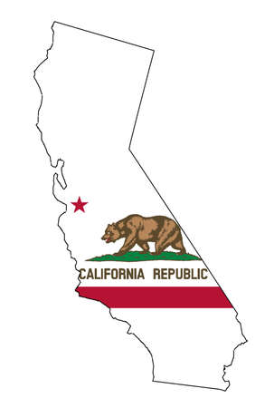 Illustration pour State map outline of California over a white background with flag inset - image libre de droit
