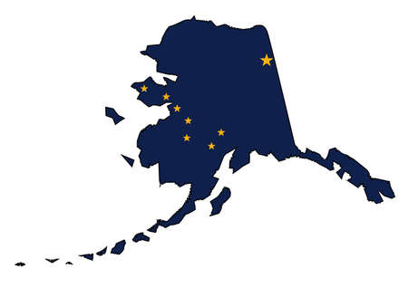Illustration pour Outline of the state of Alaska isolated with state flag inset - image libre de droit