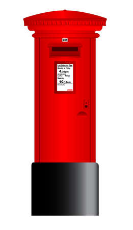 Illustration pour A typical british Royal Mail post box isolated over a white background. - image libre de droit