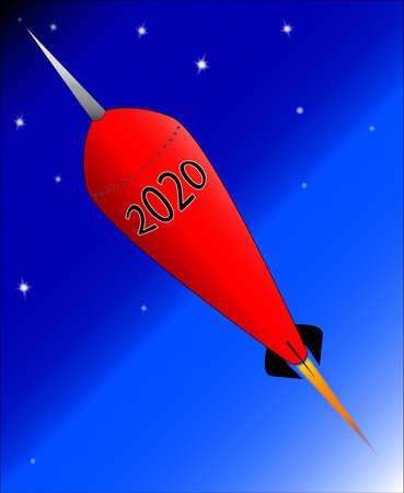 A retro look cartoon rocket ship with the message 2020