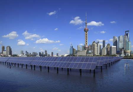 Photo pour Shanghai Bund skyline landmark ,Ecological energy renewable solar panel plant at concept   - image libre de droit